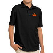 Antigua Youth Clemson Tigers Black Pique Polo