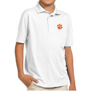 Antigua Youth Clemson Tigers White Pique Polo