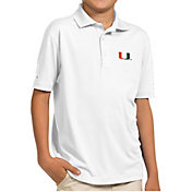 Antigua Youth Miami Hurricanes White Pique Polo