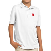 Antigua Youth Nebraska Cornhuskers White Pique Polo
