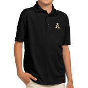 Antigua Youth Appalachian State Mountaineers Black Pique Polo