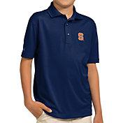 Antigua Youth Syracuse Orange Blue Pique Polo