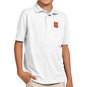 Antigua Youth Syracuse Orange White Pique Polo