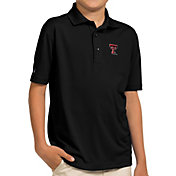 Antigua Youth Texas Tech Red Raiders Black Pique Polo