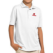 Antigua Youth Wisconsin Badgers White Pique Polo