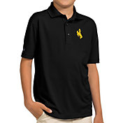 Antigua Youth Wyoming Cowboys Black Pique Polo