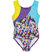 Jacques Moret Girls' Handspring Stars Print Colorblocked Leotard