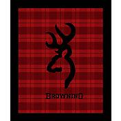 Browning Buckmark Red Plaid Throw Blanket