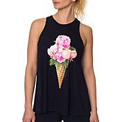 Betsey Johnson Performance Women's Ice Cream Peonies Racer Tank Top