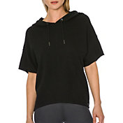 Betsey Johnson Performance Women's Cropped Short Sleeve Cape Hoodie