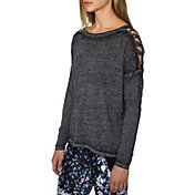 Betsey Johnson Performance Criss-Cross Cutout Shoulder Long Sleeve T-Shirt