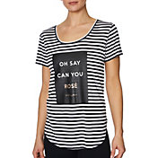 Betsey Johnson Women's 'Oh Say Can You Rose' Yarndye T-Shirt
