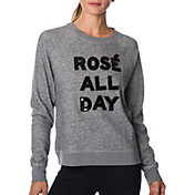 Betsey Johnson Performance Women's Rosé All Day Sequin Sweatshirt