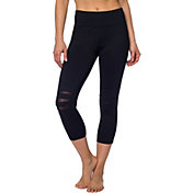 Betsey Johnson Performance Women's Slashed Knee Crop Leggings
