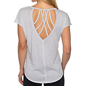 Betsey Johnson Performance Women's Strappy Back Icy Wash Wedge T-Shirt