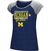 Colosseum Girls' Michigan Wolverines Blue Sprint T-Shirt