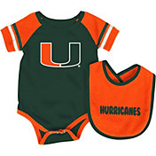 Colosseum Athletics Infant Miami Hurricanes Orange Roll-Out Onsie And Bib Set