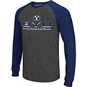 Colosseum Men's BYU Cougars Grey Olympus II Long Sleeve Shirt