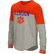 Colosseum Youth Girls' Clemson Tigers Grey Baton Long Sleeve Shirt