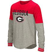 Colosseum Youth Girls' Georgia Bulldogs Grey Baton Long Sleeve Shirt