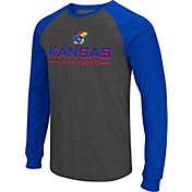 Colosseum Men's Kansas Jayhawks Grey Olympus II Long Sleeve Shirt