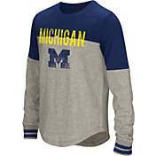 Colosseum Youth Girls' Michigan Wolverines Grey Baton Long Sleeve Shirt