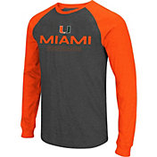 Colosseum Men's Miami Hurricanes Grey Olympus II Long Sleeve Shirt