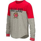 Colosseum Girls' Maryland Terrapins Grey Baton Long Sleeve T-Shirt