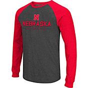 Colosseum Men's Nebraska Cornhuskers Grey Olympus II Long Sleeve Shirt