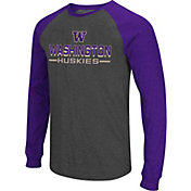 Colosseum Men's Washington Huskies Grey Olympus II Long Sleeve Shirt