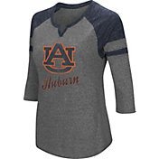 Colosseum Women's Auburn Tigers Grey Three-Quarter Sleeve Tri-Blend T-Shirt