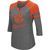 Colosseum Women's Clemson Tigers Grey Three-Quarter Sleeve Tri-Blend T-Shirt