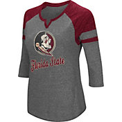 Colosseum Women's Florida State Seminoles Grey Three-Quarter Sleeve Tri-Blend T-Shirt