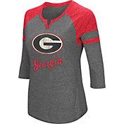 Colosseum Women's Georgia Bulldogs Grey Three-Quarter Sleeve Tri-Blend T-Shirt