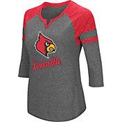 Colosseum Women's Louisville Cardinals Grey Three-Quarter Sleeve Tri-Blend T-Shirt