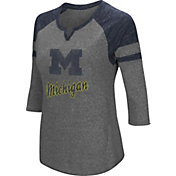 Colosseum Women's Michigan Wolverines Grey Three-Quarter Sleeve Tri-Blend T-Shirt