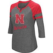 Colosseum Women's Nebraska Cornhuskers Grey Three-Quarter Sleeve Tri-Blend T-Shirt