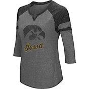 Colosseum Women's Iowa Hawkeyes Grey Three-Quarter Sleeve Tri-Blend T-Shirt