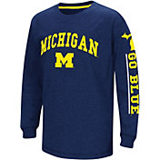 Colosseum Youth Michigan Wolverines Blue Grandstand Long Sleeve T-Shirt