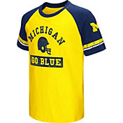 Colosseum Youth Michigan Wolverines Blue All Pro Raglan Football T-Shirt