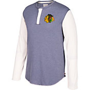 CCM Men's Chicago Blackhawks Henley Grey Long Sleeve Shirt