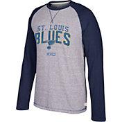 CCM Men's St. Louis Blues Crew Heather Grey/Navy Long Sleeve Shirt