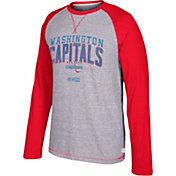 CCM Men's Washington Capitals Crew Heather Grey/Red Long Sleeve Shirt