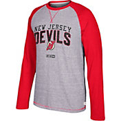 CCM Men's New Jersey Devils Crew Heather Grey/Red Long Sleeve Shirt