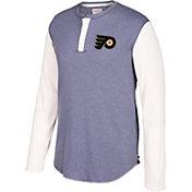 CCM Men's Philadelphia Flyers Henley Heather Grey Long Sleeve Shirt
