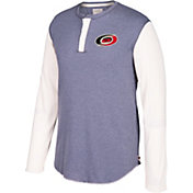 CCM Men's Carolina Hurricanes Henley Grey Long Sleeve Shirt