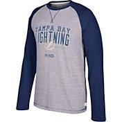 CCM Men's Tampa Bay Lightning Crew Heather Grey/Navy Long Sleeve Shirt