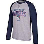 CCM Men's New York Rangers Crew Heather Grey/Navy Long Sleeve Shirt
