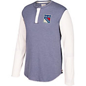 CCM Men's New York Rangers Henley Heather Grey Long Sleeve Shirt