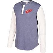 CCM Men's Detroit Red Wings Henley Grey Long Sleeve Shirt